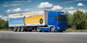 Truck on road with white blank container, shipping, delivery and cargo transportation concept